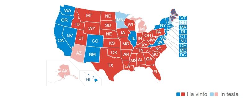 elezioni usa Donald Trump - mappa